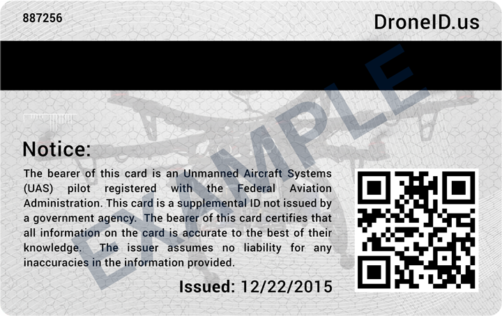 Pilot Uas Droneid Identification Your Drone Card Custom